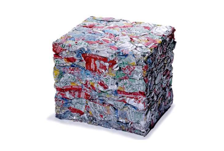 crushed and baled aluminum cans for recycling