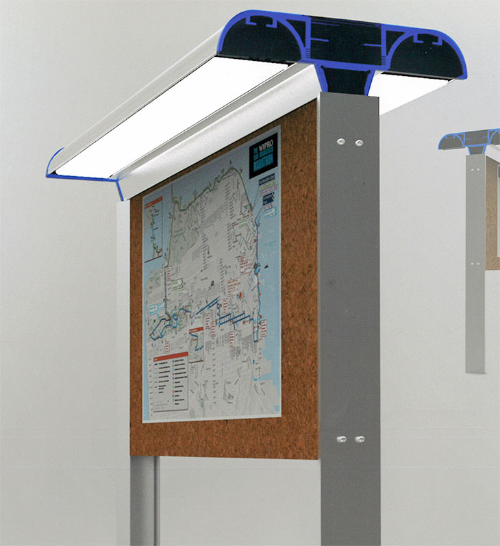 2013 First Place Winner – Solarboard, a semi-permanent solar-powered bulletin board, by Dominic Atibil, Purdue University