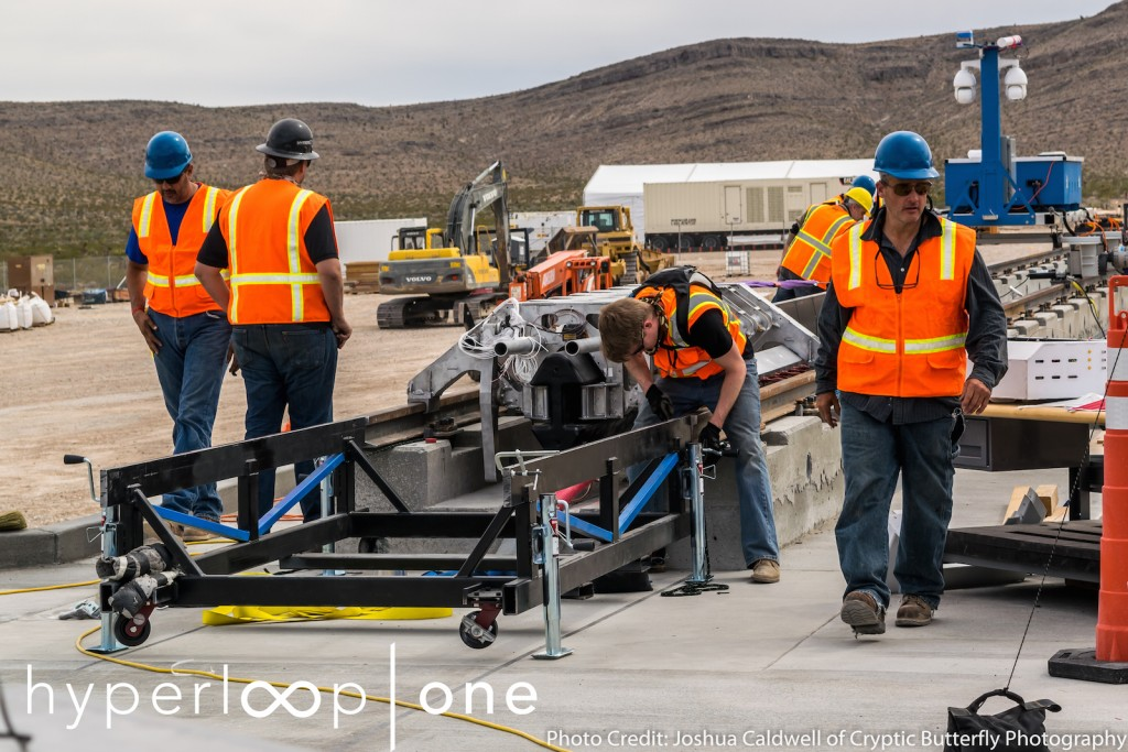 Construction of the track and placement of the aluminum sled at the propulsion open-air test site in Nevada.