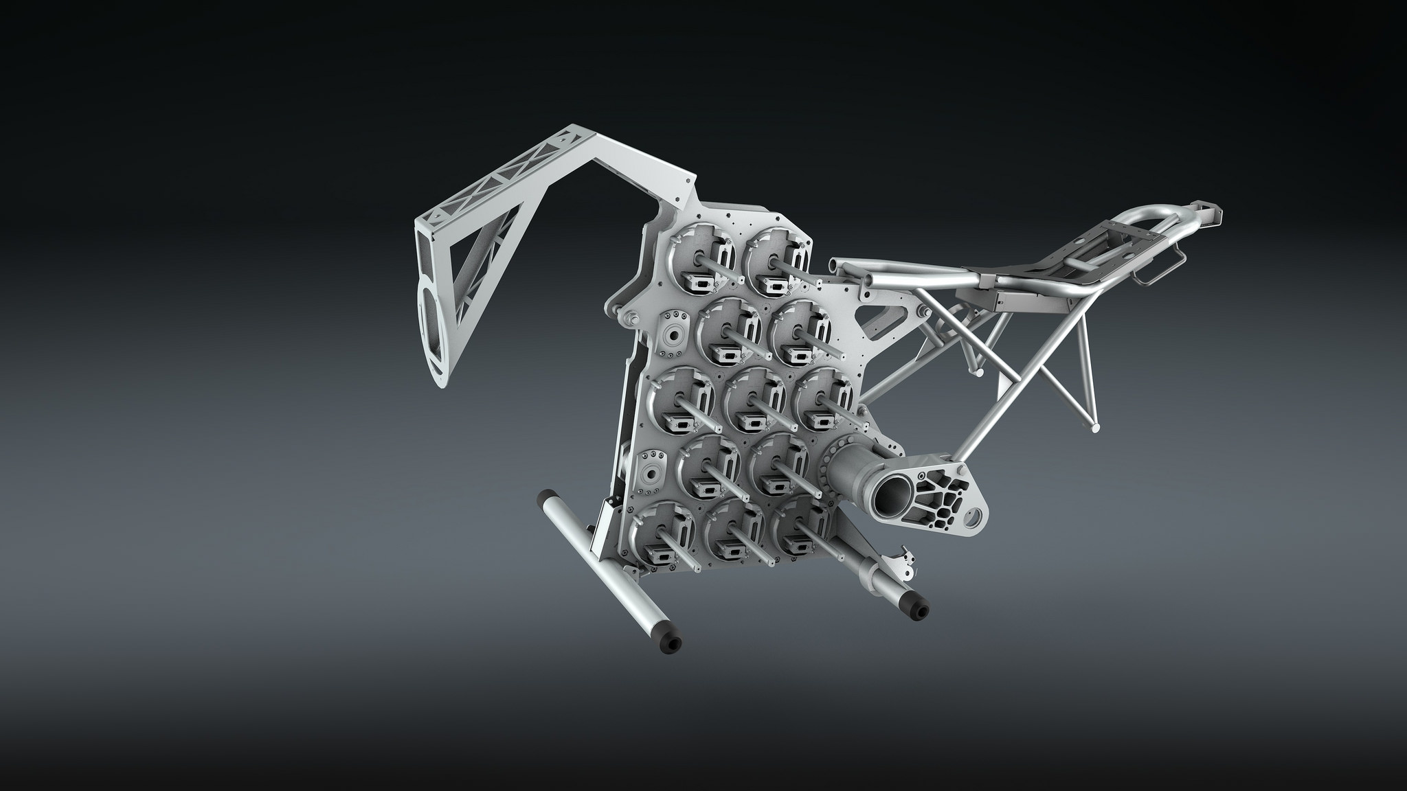 The aluminum mainframe for housing the battery pack of the STORM motorcycle. (Image: STORM Eindhoven.)