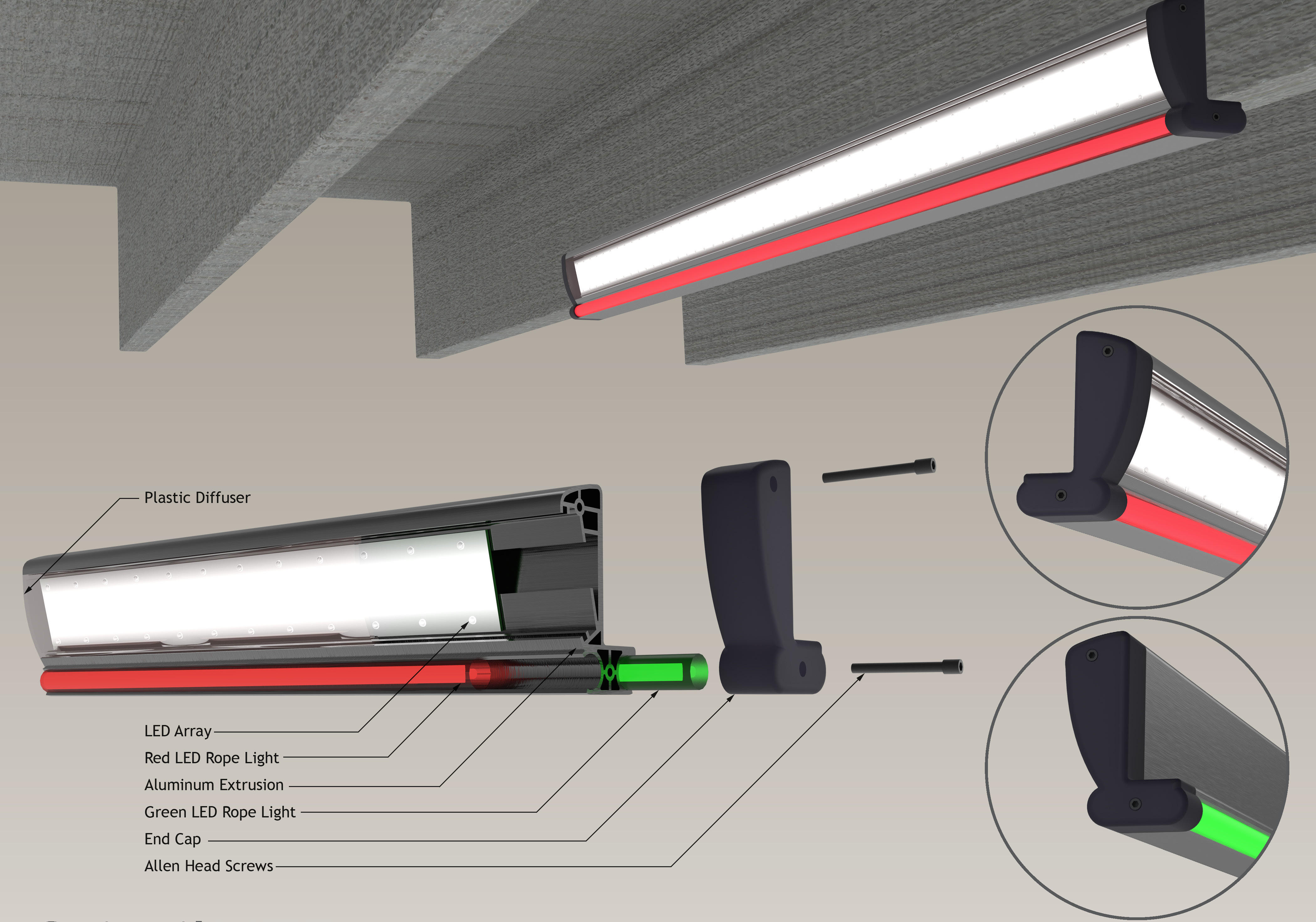 2015 Second Place Winner — The ScintilLITE extruded aluminum light fixture housing for parking garages.