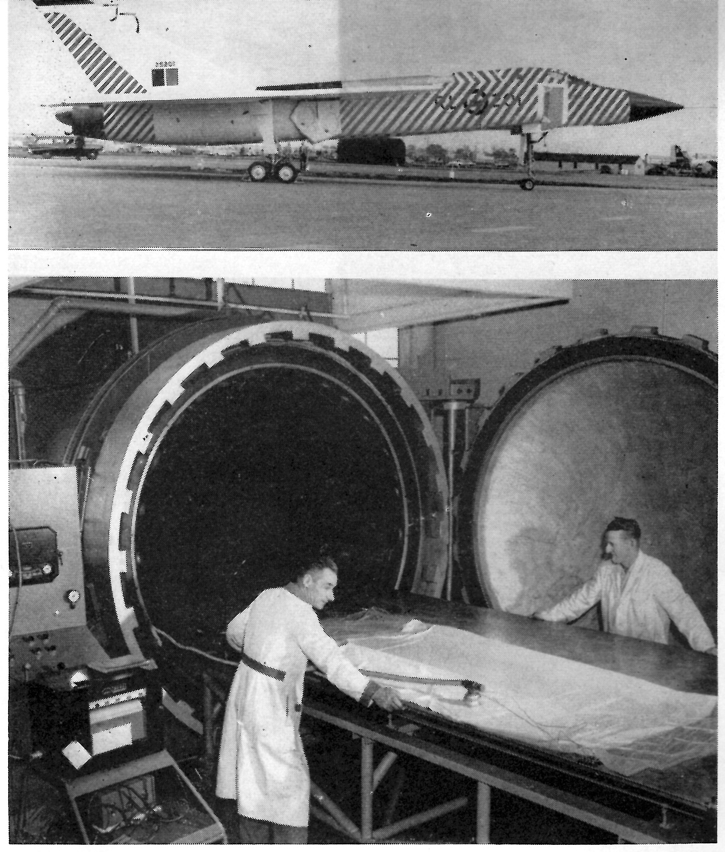 """From """"Magnesium –New Auto Claving Method Used to Form Canadian 'Arrow"""" Fighter Skin,"""" Light Metal Age, February 1958. (©1958 Light Metal Age)"""