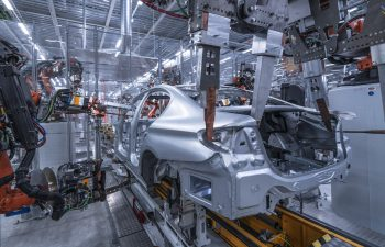 Welding of the sideframe structure on a BMW 5 Series sedan