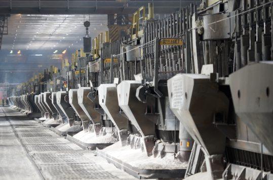 The upgraded EcoSøderburg potroom at the IrkAZ smelter.