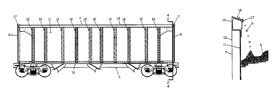 US9669845 — OPEN TOP HOPPER RAILCAR WITH LADING SHEDDING TOP CHORD AND CORNER CAP AND INTEGRATED DOOR OPERATING CONTROLS WITH MANUAL OVERRIDE