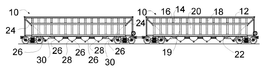 US9862393 — OPEN TOP HOPPER RAILCAR WITH BIASED DOOR SEAL AND ENLARGED CONTOURED END DOOR