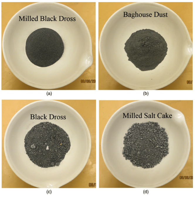 Figure 1. Several saltcake and baghouse dust samples as supplied to EPA for testing purposes.