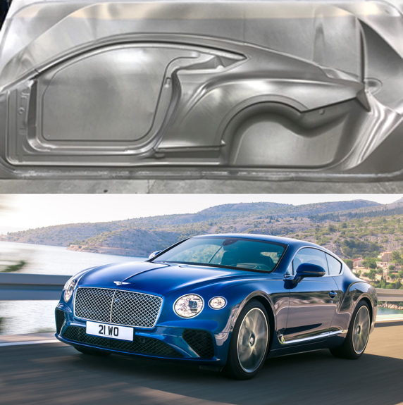 Figure 3. The exterior panels of the Continental GT are comprised of superplastically formed aluminum.