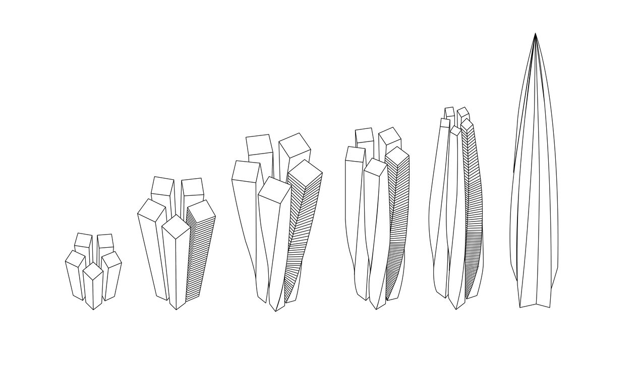 Rendering illustrating how five individual tower forms twist and taper around each other to form the tower.