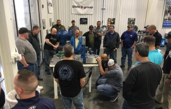 Participants investigate main pump operation and maintenance at a Hydraulics and Controls course in Arkansas in 2018.
