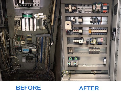 Hydraulics systems shown before and after modernization.