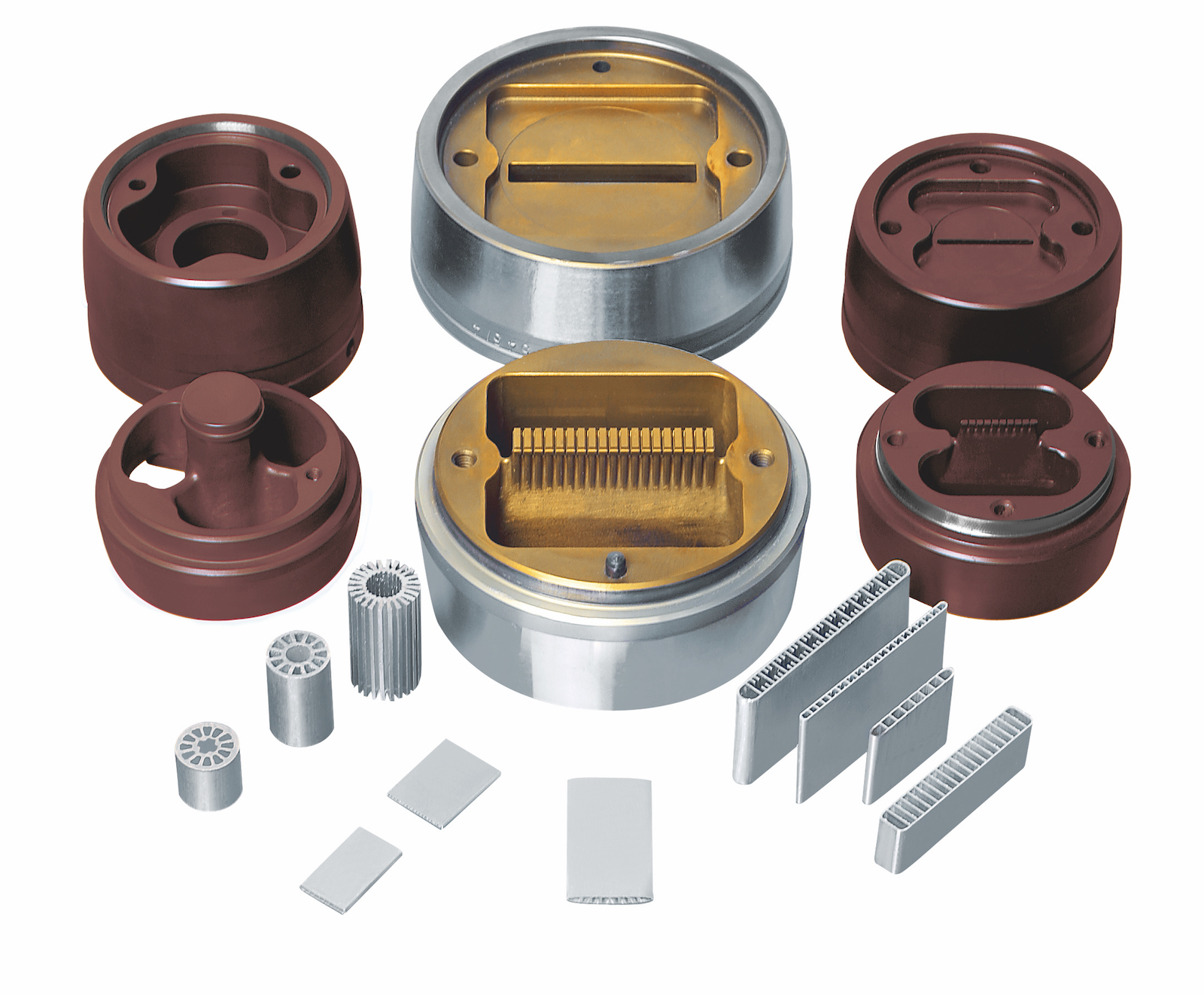 WEFA CVD coated extrusion dies or CEDs for production of multiport and micro-multiport hollow and heat exchanger tube aluminum extrusions (front/bottom).