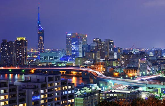 Cityscape of Fukuoka, Japan.