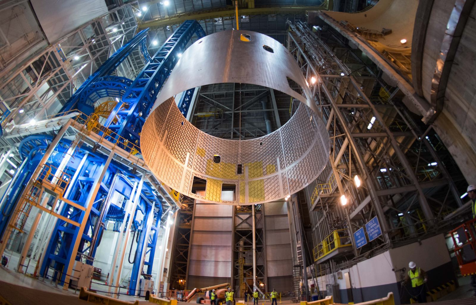 An SLS engine section, comprised of aluminum panels fabricated by AMRO, being taken off the Vertical Assembly Center after weld testing at NASA's Michoud Assembly Facility. (Photo: NASA.)