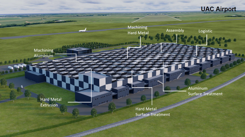 Layout of the UAC extrusion facility to be constructed in Romania.