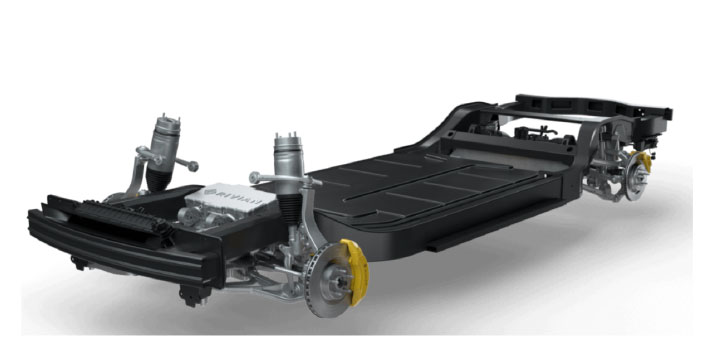 Figure 2. Rivian skateboard battery enclosure and chassis. (Source: Rivian.)