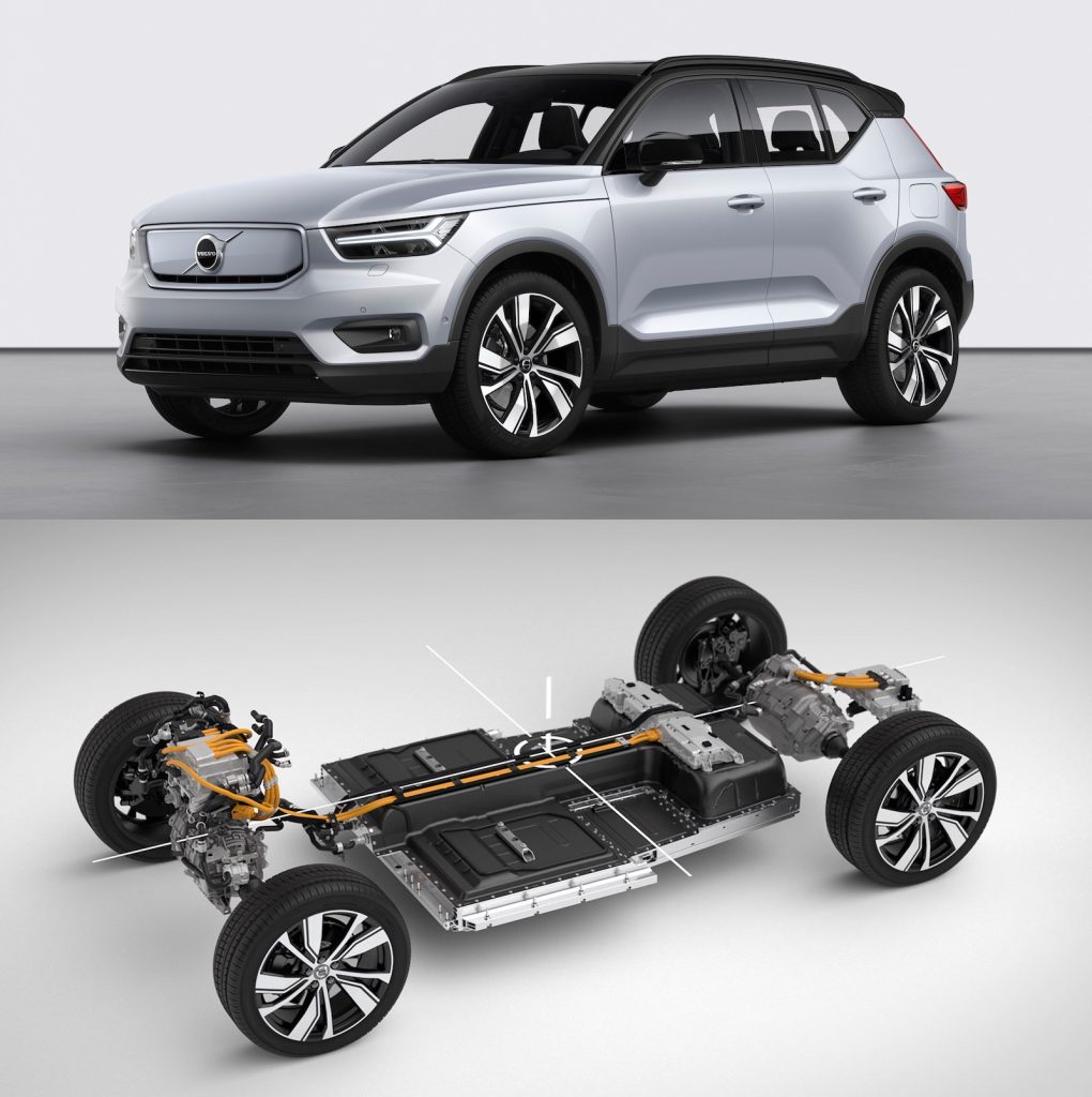 Volvo launched the XC40 as the first vehicle in its electrified car line. The car implements an extruded aluminum battery tray.