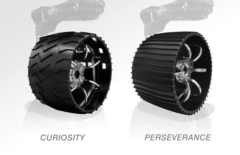 The aluminum wheels of NASA's Curiosity and Perseverance rovers.