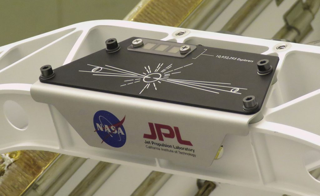 """A placard commemorating NASA's """"Send Your Name to Mars"""" campaign was installed on the Persevarnce Mars rover. Photo: NASA/JPL-Caltech."""