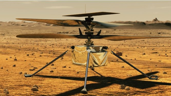 Illustration shows the Mars Helicopter Ingenuity on the surface of Mars
