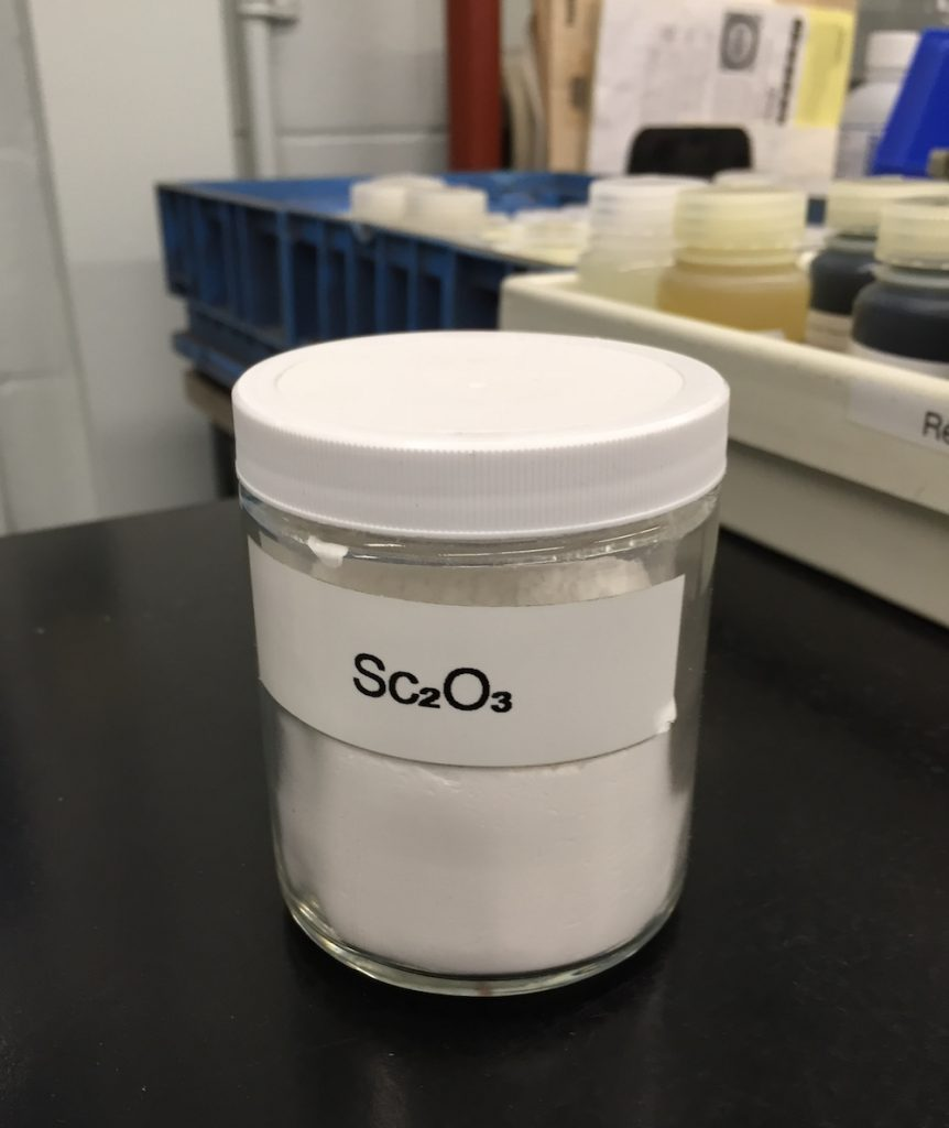 Sample of scandium oxide produced at the RTFT facility.