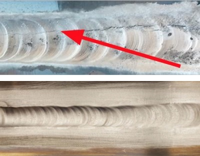 Figure 2. Examples of TIG welded joints: welding of 7075 aluminum with conventional welding wire (top) shows hot cracking, while welding of 7075 aluminum with nanotechnology-enhanced welding wire (bottom) shows no visible or micro-cracking of the joint.