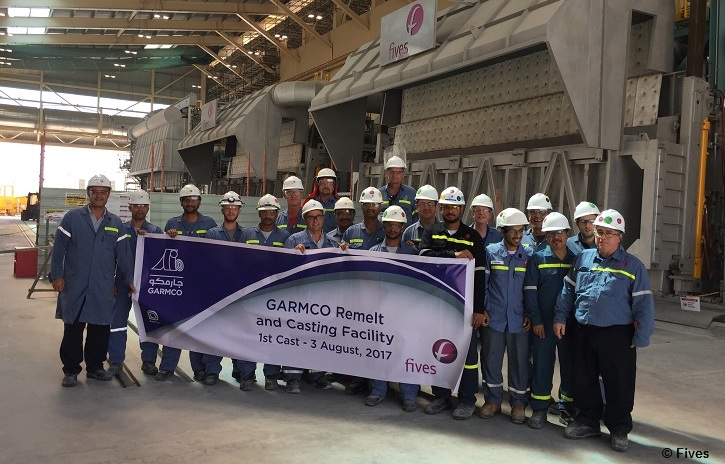 First cast at GARMCO's new aluminum remelt facility was achieved in August 2017.