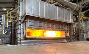 Figure 2. The 55 ton melting furnace features regenerative burners that improve energy efficiency.