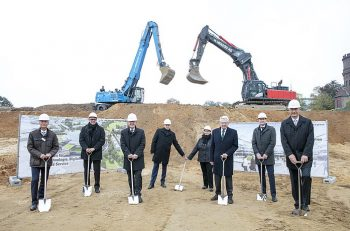 Groundbreaking ceremony for the new SMS Campus in Germany (L-R): Torsten Heising, CFO, SMS group; Holger P. Hartmann, architect and general planner; Hans Wilhelm Reiners, mayor of Mönchengladbach; Peter Peskes and Elke Paul, city works council chairpersons; Heinrich Weiss, chairman of the shareholders' committee of SMS Holding GmbH; Marco Kubiak, project manager; and Burkhard Dahmen, CEO, SMS group.