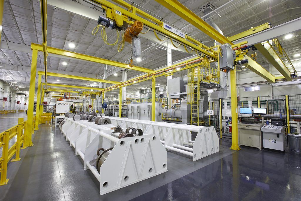Figure 4. The die storage area features an overhead crane, which safely moves the dies to the extrusion press.