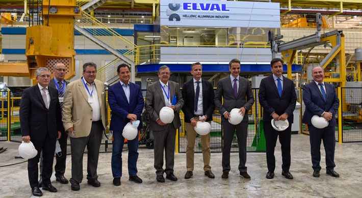 Executives at ElvalHalcor held an event to present the newly installed tandem hot rolling mill to Turkey's Prime Minister Kyriakos Mitsotakis in July 2020.