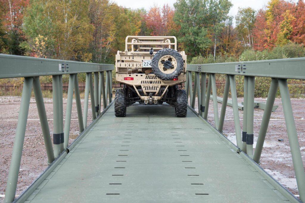 Figure 3. A light vehicle crossing the LVTB. Aluminum bridge