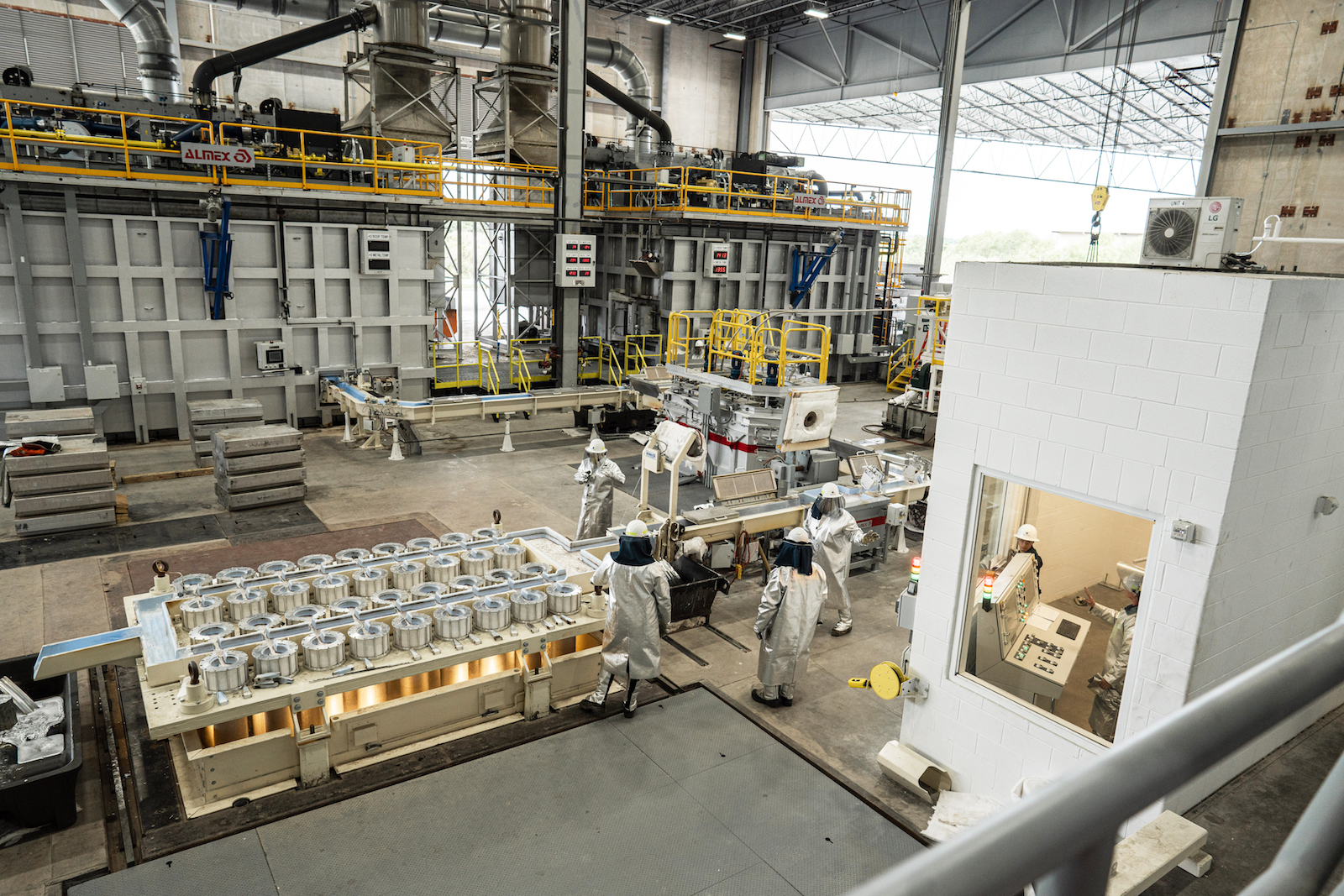 Figure 1. The casting area includes two melting/holding furnaces that feed the casting line, which is managed from the control booth.