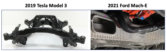 Figure 2. Comparison of rear subframe systems—the 2019 Tesla Model 3 system is made of welded steel and weighs 24 kg (53 lbs), while the 2021 Ford Mustang Mach-E system is made of a hollow aluminum casting, weighing 18 kg (40 lbs).