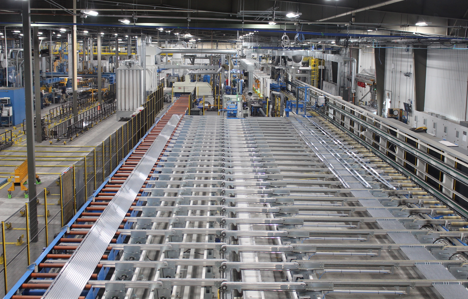 The cooling table and automated stretcher on the new press line at Alexandria.