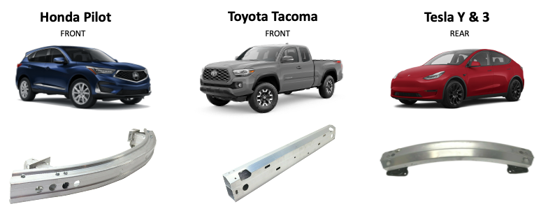 Figure 4. Bumper beam designs vary according to car manufacturer, model, and application. (Source: Mayflower Consulting.)