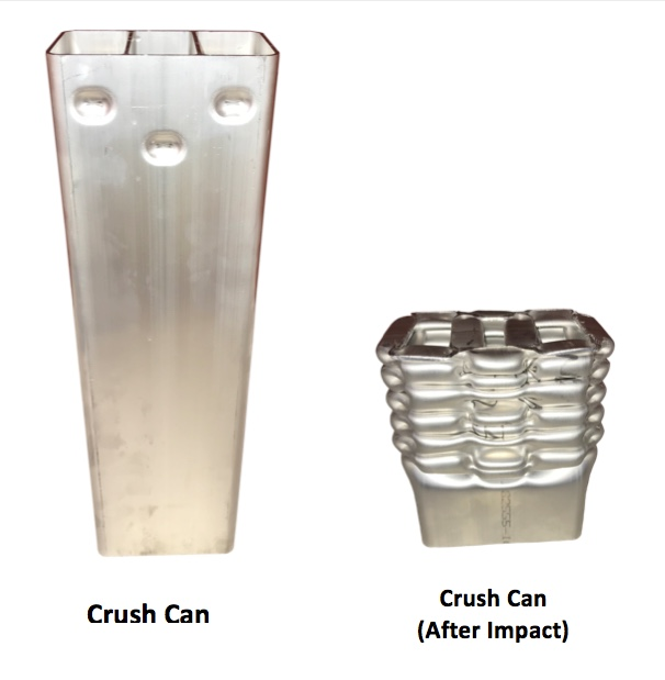 Figure 5. Aluminum extruded crush can before and after it is crushed, showing the optimal folding of the metal in order to absorb energy. (Source: AEC.)