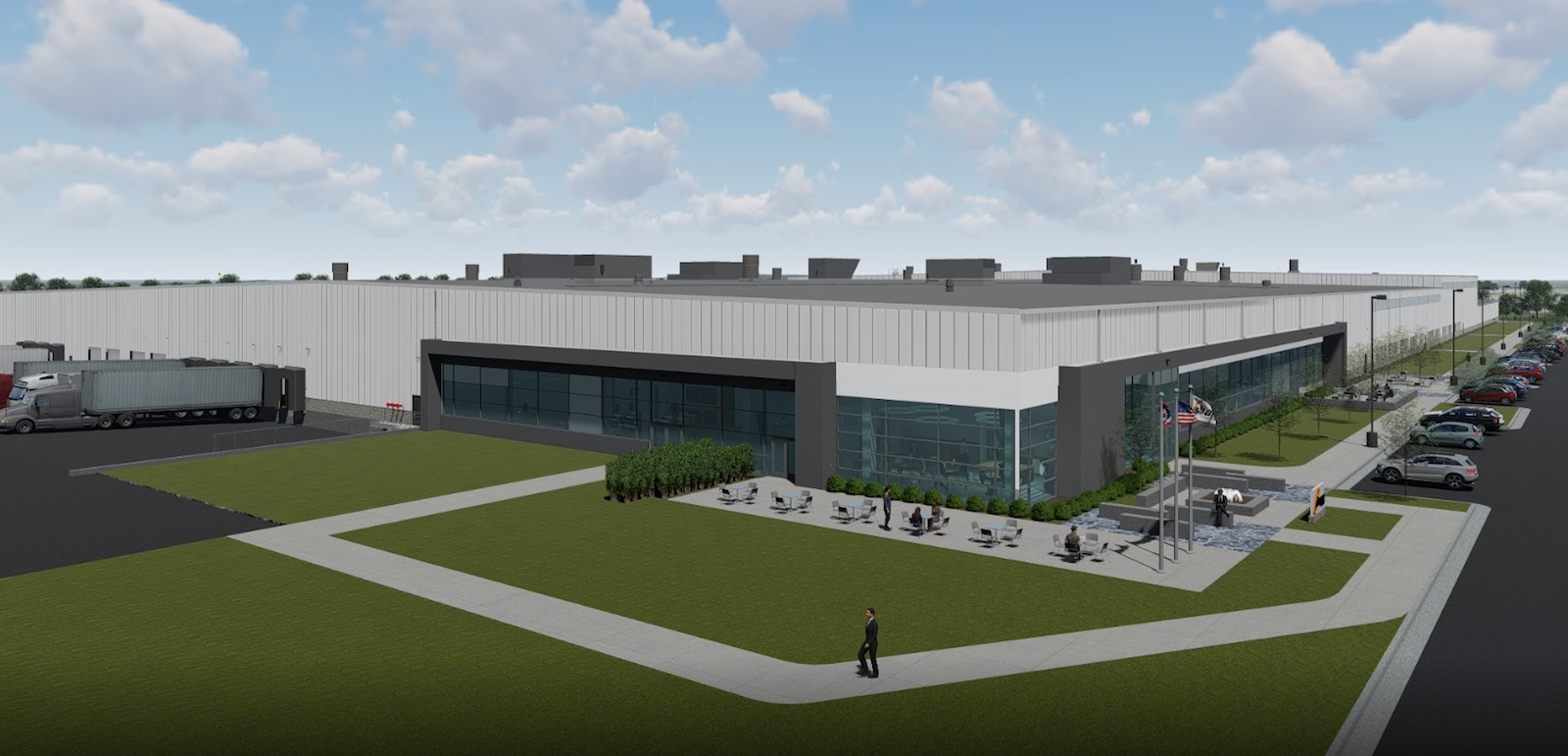 Figure 2. Digital rendering of the planned new Aluminum Center of Excellence, which will include manufacturing and office space.